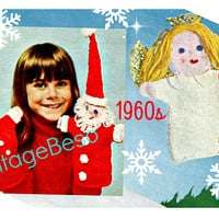 EASY Vintage Knit Christmas Knitting Pattern Hand Puppets 1960s Mr Mrs Santa Claus and lovely Floating Angel • DIGITAL PATTERN • PdF Pattern