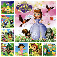 24 models Educational Wooden Jigsaw Puzzles Toys Kids Baby Games Toy princess Wood Puzzles For Children Cartoon Learning Toys