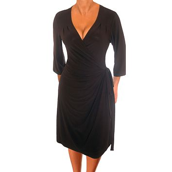 Black Wrap Dress Made in USA