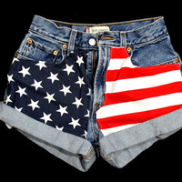 American Flag. ANY SIZE Vintage High waisted American Flag Shorts