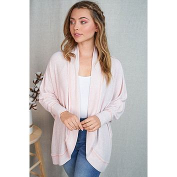 Touch Of Sweetness Blush Pink Ribbed Knit Cardigan