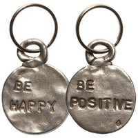 Tamara Hensick Pewter Coin Key Chain - Happy/Positive