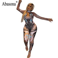 Abasona Printed Jumpsuits Long Sleeve Halloween Party Overalls Skinny Rompers Womens Jumpsuit Autumn New  Female Bodysuits