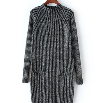 High-Necked Vertical Stripe Long-Sleeved Knit Sweater Dress