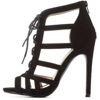 Black Strappy Lace-Up Caged Heels by Charlotte Russe