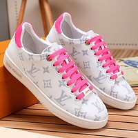 LV Shoes Louis Vuitton Sneakers Flat Small White Shoes Pink Laceup Monogram Print Shoes Pink  Tail