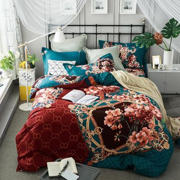 100% Sanding Cotton Chinese Modern Bedding set King Queen Size 4Pcs Duvet cover Floral Bohemia Bed sheet set Pillow covers