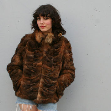 1970s FUR COAT / Shaggy Brown Opposum & by luckyvintageseattle