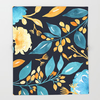 Teal and Golden Floral Throw Blanket by noondaydesign