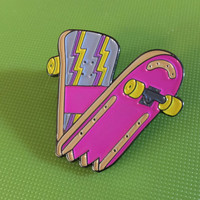 "Snapped Skate Deck Flourescent Soft Enamel Pin 1.5"" Philip Morgan Design"
