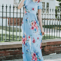 Short Sleeve Floral Maxi Dress - Light Blue