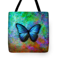 Custom made Tote bag, choice of multiple sizes. Shopping, colorful butterfly wings, artwork on bag,Art on Bag