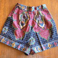 paisley psychedelic shorts - vintage 60s lord & taylor navy blue red high waisted hot pants - hippie boho - xs