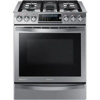 Samsung, Chef Collection 30 in. 5.8 cu. ft. Slide-In Gas Range with Self Cleaning Convection Oven in Stainless Steel, NX58H9950WS at The Home Depot - Tablet