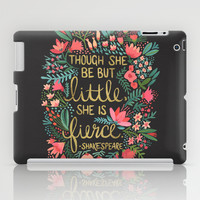 Little & Fierce on Charcoal iPad Case by Cat Coquillette