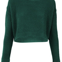 Knitted Textured Stitch Crop Jumper - Knitwear - Clothing - Topshop