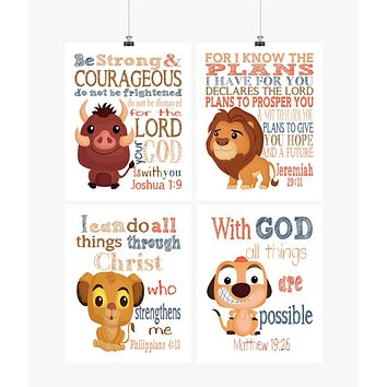Lion King Christian Nursery Decor Set of 4 Printables, Mufasa, Pumba, Simba and Timon Instant Download