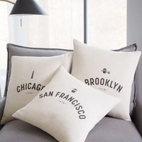 Hometown City Pillow Covers