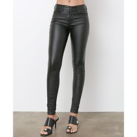 Monica's Coated Skinny Jeans - Black Shiny