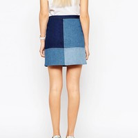 ASOS | ASOS Denim Patchwork A-Line Mini Skirt at ASOS