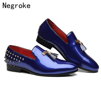 High Quality Shiny Patent Leather Mens Shoes Casual Loafers 2019 Sexy Rivet Italian Tassel Party Wedding Mocassin Homme
