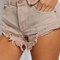 Taupe Low Rise Frayed Shorts