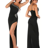Black One Shoulder Strappy Sequined Maxi Dress with High Slit