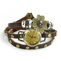 Leather Wrap Watch With Flower on Luulla