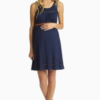 Navy Blue Lace Accent Belted Maternity Dress