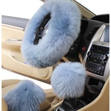 Fur steering wheel 3 pieces