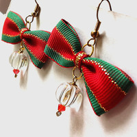 Red green and gold Christmas bow beaded earrings