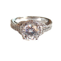 Simulated White Topaz Halo Fashion Ring - CLEARANCE