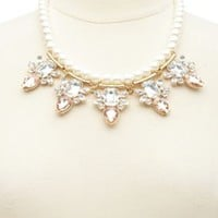 Pearl & Gem Statement Collar Necklace by Charlotte Russe - Gold