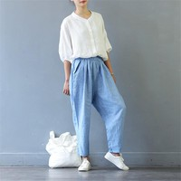SCUWLINEN Trousers for Women 2017 Summer Autumn Harem Pants Casual Elastic Waist Houndstooth Loose Ankle-length Linen Pants S426