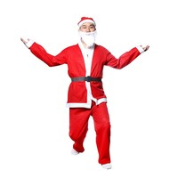 5 Piece Christmas Santa Claus Costume Adult Sizes