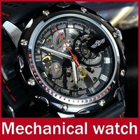 WINNER Silicone Band Men Automatic Mechanical Self Wind Skeleton Sport Wristwatch with Gift Box