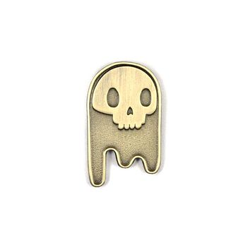 Ghost Skull Pin - Gold
