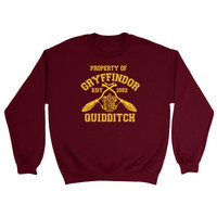 Harry Potter Inspired Property Of Gryffindor Quidditch Team SweatShirt Sweater Crewneck Jumper- UNISEX FIT - Premium Quality - FAST Ship!
