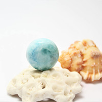 Dominican Larimar Caribbean Azure and Turquoise Blue 17mm round cab Dolphin cabochon pectolite beach surf bohemian stone 3g 15ct