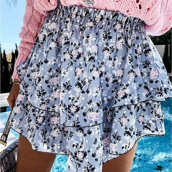 2021 Summer New Double-Layer Floral Short Skirt Elastic High Waist Printing Design Casual Sweet Fresh Chic