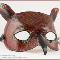 Great Horned Owl handmade leather mask Halloween costume masquerade