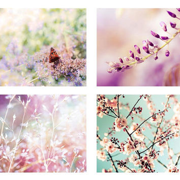spring photography print set botanical 5x7 8x10 set of 4 butterfly photography fine art blossom photography floral pastel wall art nature