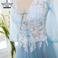 Lace Formal  Pregnant dress Long Sleeve See Through Blue Evening Dress