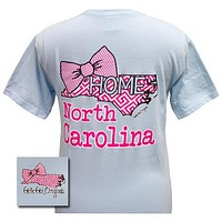 Girlie Girl Originals North Carolina Preppy State Bow Comfort Colors Bright T Shirt