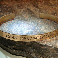 Latitude longitude cuff bracelet in bronze personalized with your own coordinates