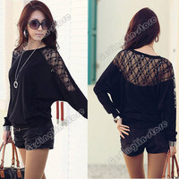 Women's Long Sleeve Batwing Dolman Lace Casual Loose Tops T-Shirt S M L New #662