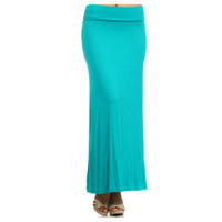 In Style Long Solid Aqua Maxi Skirt
