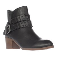 SC35 Dyanaa Stitched Harness Ankle Boots, Black, 9.5 US
