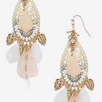 FILIGREE AND FEATHER CHARM DROP EARRINGS from EXPRESS