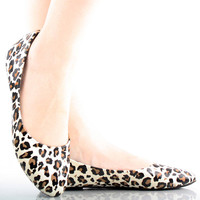 Animal Print Faux Patent Casual Ballet Flats
